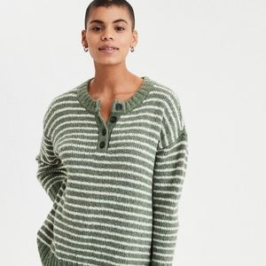 AMERICAN EAGLE Henley Striped Pullover Sweater